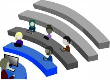 Graphic illustration of students in lecture hall with laptops by Zainab Saleh