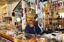 Olayami Dabls inside the African Bead Museum gift shop.