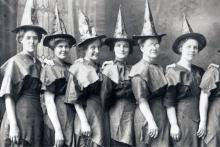 Historic black and white photo of women in witches clothes courtesy Detroit History Tours