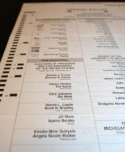 Close up photo of 2016 ballot in Michigan.