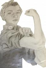 Pencil line drawing of the classic Rosie the Riveter drawing
