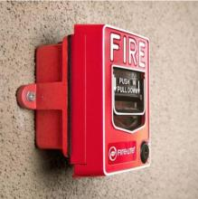 Image shows a fire alarm pull box