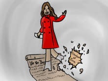 Illustration of woman stomping on Bill of Rights with Freedom of Press being torn off.