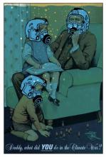 Illustration of family wearing gas masks courtesy The Guardian