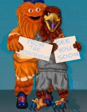 Hawkster and Gritty mascots thank readers