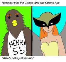 Comic of Hawkster using new Google arts and culture app