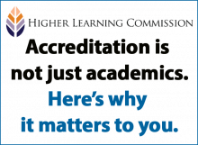 """Graphic from the Higher Learning Commission that reads """"accreditation is not just academics. Here's why it matters to you."""""""