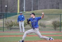 Hawks baseball player Kyle Roberts pitching