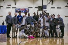 Photo of HFC Hawks celebrating winning the MCCAA title