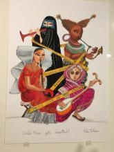 "Photo of Ruben Toledo's sketch ""World Music Gets Deported"""