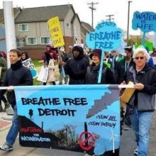 Photo of Breathe Free Detroit campaign marchers protesting Detroit Incinerator