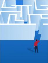 Graphic of student before a maze