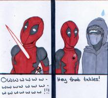 "Panel One: Comic book character Deadpool has a lightsaber through his chest. He's saying, ""OW OW OW OW"". Panel Two: Deadpool turns to Kylo Ken. Deadpool says, ""Hey that tickles!"""