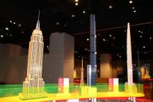 Photo shows lego replicas of the Empire State Building and the Eureka Tower