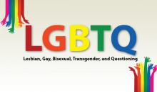 LGBTQ in rainbow colors with Lesbian, Gay, Bisexual, Transgrender, and Questioning spelled out underneath