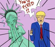 Comic of President Trump firing the Statue of Liberty