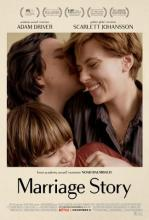 """Promotional poster for film """"Marriage Story,"""" showing the three main characters of the film embracing"""