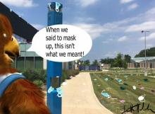 HFC mascot Hawkster looking at mask litter on HFC's campus