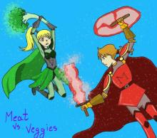 Comic of female super hero swinging broccoli club at male meat super hero holding bacon sword and ham shield.