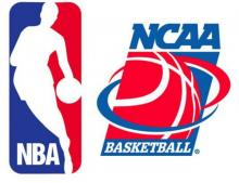 NBA logo next to NCAA logo