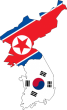 Map of korea with the flag of north Korea in the top part and the flag of south Korea and the bottom part.