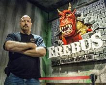 Ed Terebus at the entrance to Erebus, where he lives and works.