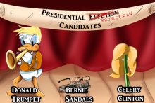 "A stage has a banner reading, ""Presidential Election Candidates"" where Election has been crossed out and reads ""Rejection"". Below is ""Donald Trumpet"" which is a hybrid of Donald Trump and a famous copywritten duck, ""Bernie Sandals"" a pair of sandals wearing thick old man glasses, and ""Celery Clinton"" a piece of celery in a blonde wig wearing pearl earrings."