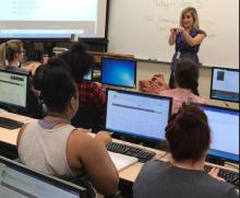 Photo of Professor Jennifer Stewart instructing an ASL course at HFC