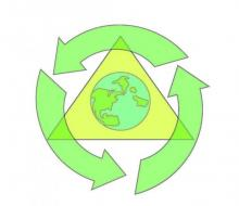 Three green arrows circle a graphic of the planet Earth to symbolize recycling.
