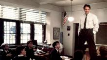 Robin Williams as John Keating in Dead Poet Society courtesy Touchstone Pictures