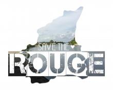 "Stylized text, ""Save the Rouge"" shows the Rouge River in the background."