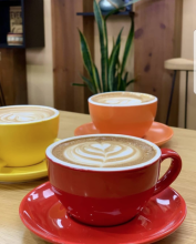 Photo of three cups of coffee from Qahwah House