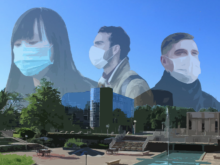 Graphic of people wearing surgical masks superimposed over the HFC campus