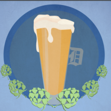 "Graphic of a beer with a Detroit ""D"" handle surrounded by hops."