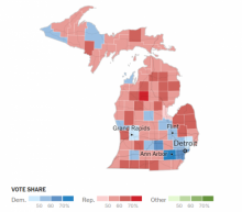 Map of Michigan detailing Senate election results by county