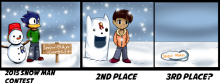 Panel one: Lil' Hawkster has a cute little snowman with a red hat, a bucket, and stick arms. It has a first place ribbon. Panel two: A snow creature, little ears, giant mouth gaping and smiling. A boy stands next to it. It has a second place ribbon. Third panel: A flat pile of snow has 'snow man' written on it. The writing is yellow.