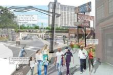 A mock-up of the proposed update to the streets in Southwest Detroit. The streets are fresh looking and new and people walk down the sidewalk along signs and buildings.
