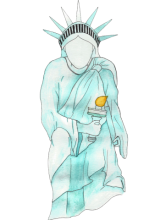 Illustration of the statue of liberty taking a knee