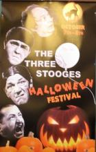 Photo of poster for Three Stooges Halloween film festival at The Redford Theater