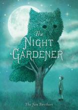 "The cover of the book, ""The Night Gardener"" features a boy looking up at a tree who's canopy is shaped like an owl. It is cast in moonlight."