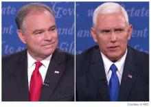 Screenshot of Tim Kaine and Mike Pence during televised Vice Presidential debate.