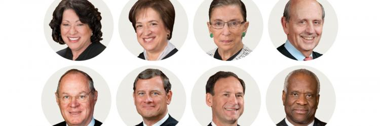 Photos of eight U.S. Supreme Court Justices