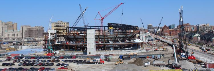 Construction site of Little Caesars Arena in Detroit