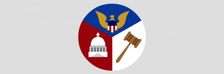 Images of three branches of the U.S. government: legislative, executive, and judicial.