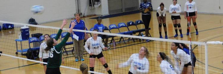 Photo of Hawks girls volleyball players watching the net while opposing team jumps toward the net.