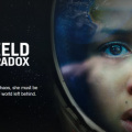 Cloverfield Paradox poster showing a closeup of female astronaut in distress.