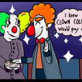 Comic of clowns graduating clown college.