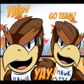 "Teaser image for Hawkster comic showing two Hawks saying ""Yay!"" and ""Go Team!"""
