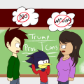 Cartoon of L'il Hawkster between two students arguing over politics.