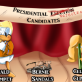 """A stage has a banner reading, """"Presidential Election Candidates"""" where Election has been crossed out and reads """"Rejection"""". Below is """"Donald Trumpet"""" which is a hybrid of Donald Trump and a famous copywritten duck, """"Bernie Sandals"""" a pair of sandals wearing thick old man glasses, and """"Celery Clinton"""" a piece of celery in a blonde wig wearing pearl earrings."""